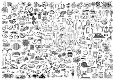 Tapeta Zestaw doodle żywności i napojów na białym tle.