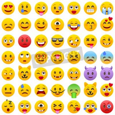 Tapeta Zestaw emotikonów. Zestaw emotikonów. Uśmiech ikony. Odosobniona ilustracja na białym tle