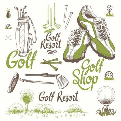 Tapeta Zestaw golfowy z koszem, butami, putter, piłka, rękawiczki, torba. Wektor zestaw ręcznie rysowane sprzętu sportowego. Ilustracja w stylu szkic na białym tle. Odręcznie napisany atrament.