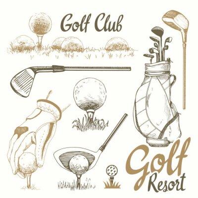 Tapeta Zestaw golfowy z koszem, buty, putter, piłka, rękawiczki, flaga, torba. Wektor zestaw ręcznie rysowane sprzętu sportowego. Ilustracja w stylu szkic na białym tle. Odręcznie napisany atrament.