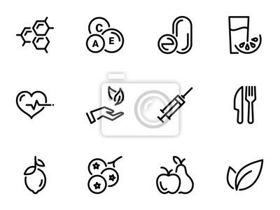 Tapeta Zestaw ikon czarny wektor, na białym tle. Ilustracja na temat Witaminy i suplementy. Naturalne i chemiczne