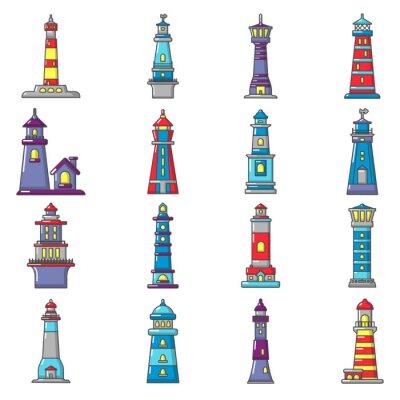 Tapeta Zestaw ikon latarnia morska, stylu cartoon