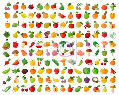 Tapeta zestaw ikon owoców i warzyw kolorów