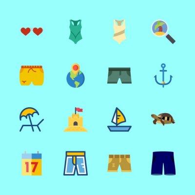 zestaw ikon wektorowych plaży. kotwica, siedemnaście, zamek z piasku i solarium w tym zestawie
