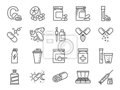 Tapeta Zestaw ikon witaminy i suplement diety. Zawiera ikony: witaminę c, olej rybi, białko serwatki, tablet, pigułki, leki, lekarstwa i wiele innych