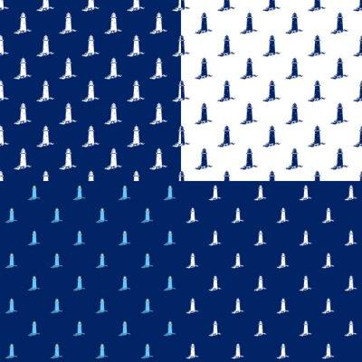 Tapeta Zestaw Morza Tła, Jednolite Wzorzec morski z Latarnia morska, Podróże i Turystyka Concept, Ilustracji Wektorowych