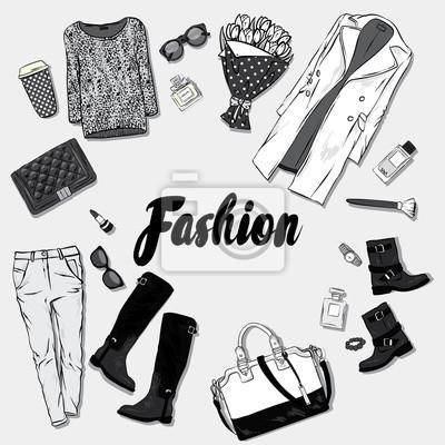 Zestaw modnej odzieży damskiej i akcesoriów. sukienka, torba, Tapety Redro