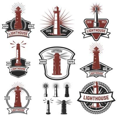 Tapeta Zestaw odznak z latarni. Elementy konstrukcyjne do logo, etykiety, emblemat, plakat, koszulka. ilustracji wektorowych.
