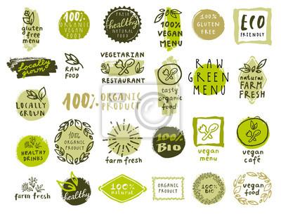Tapeta Zestaw organicznych etykietach żywności dla restauracji wegetariańskich