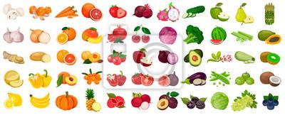 Tapeta Zestaw owoców i jagód, warzyw na białym tle. Ikona wektor