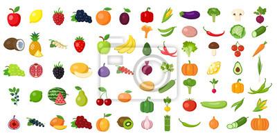 Tapeta Zestaw owoców i warzyw. Różnych kolorowych warzyw i owoców. Wszystkie rodzaje zielonej Vegi i owoców do gotowania posiłków, sadzenia w ogrodzie.
