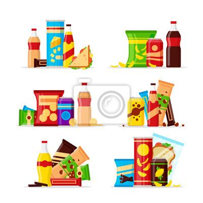 Tapeta Zestaw produktów przekąsek, przekąski typu fast food, napoje, orzechy, frytki, krakersy, sok, kanapka na białym tle. Płaskie ilustracja w wektorze