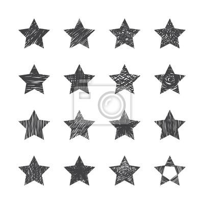 Zestaw ręcznie rysowane gwiazd na białym tle