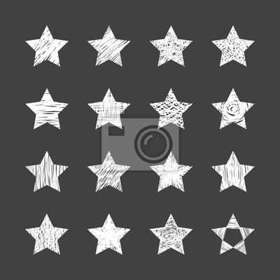 Zestaw ręcznie rysowane gwiazd na czarnym tle