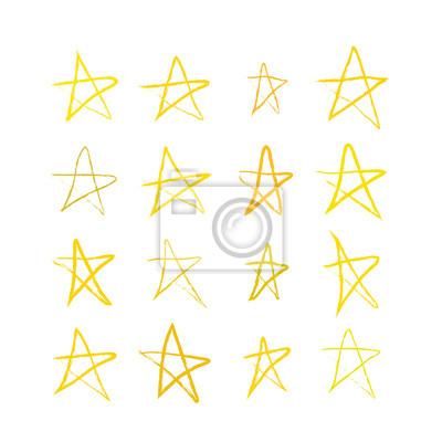 Zestaw ręcznie rysowane złotych gwiazd na białym