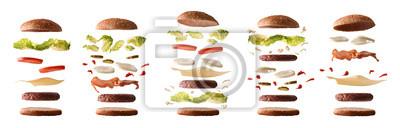 Tapeta Zestaw różnych hamburgerów ze składników warstwami biały na białym tle