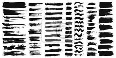 Tapeta Zestaw różnych pociągnięć pędzlem farby tuszowej na białym tle. Ilustracji wektorowych