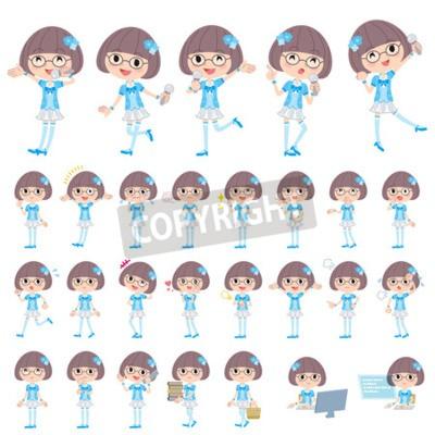 Zestaw różnych pozach pop idol w niebieskim stroju