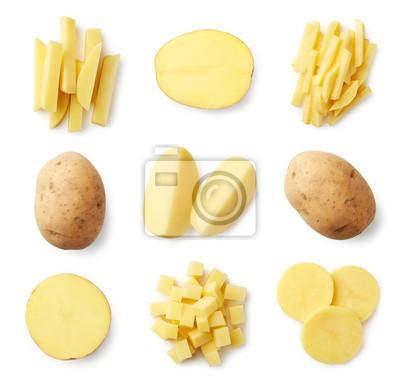 Zestaw świeżych całych i pokrojonych ziemniaków