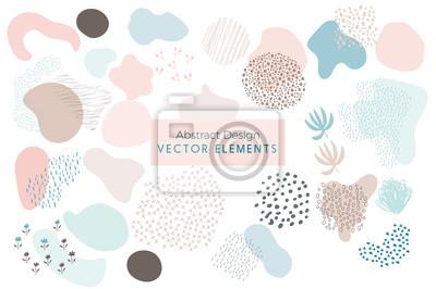 Tapeta Zestaw wektor streszczenie szczotka uderzeń, ręcznie rysowane elementy projektu, organiczne kształty, streszczenie tło