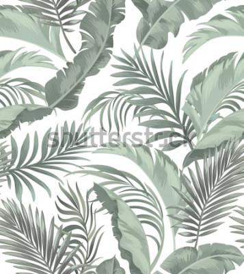 Tapeta Zielona tropikalna palma pozostawia bez szwu wektor wzór na czarnym tle. Modny letni nadruk.