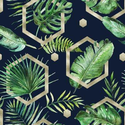 Tapeta Zielone liście palmowe i paproci ze złotymi geometrycznymi kształtami na czarnym tle. Akwarela ręcznie malowane wzór. Tropikalna ilustracja. Liście dżungli.