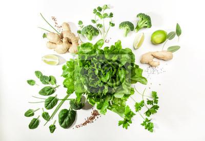Tapeta Zielone składniki sałatki na białym tle. Koncepcja zdrowej żywności