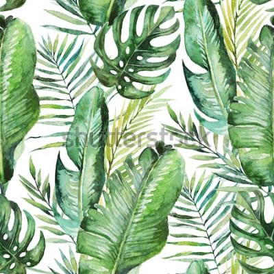 Tapeta Zielone tropikalne palmy & paproci liście na białym tle. Akwarele ręcznie malowane wzór. Tropikalna ilustracja. Liście dżungli.