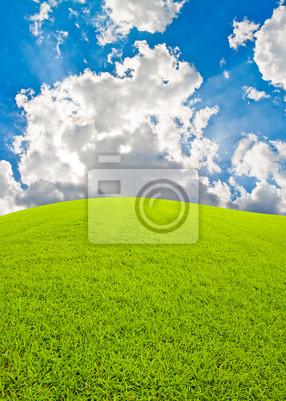 Tapeta Zielone wzgórza i niebo z belki bkue