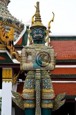 Tapeta Zielony ogr posąg z drzwiami