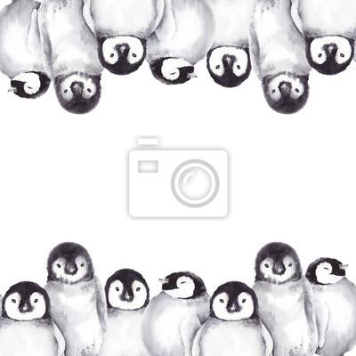 Tapeta Zimowa ramka z cute baby pingwiny. Akwarela ilustracja na białym tle.