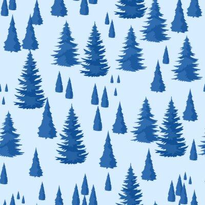 Tapeta Zimowe bez szwu. Krajobraz z lasem jodłowym