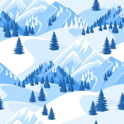 Tapeta Zimowe bez szwu. Pi? Kna krajobrazu z snowy gór i jod? Y lasu