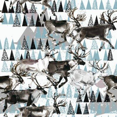 Tapeta zimowe bezszwowe tło. jeleń. Arktyczny wzór. Ilustracja akwarela charakter polarny. Dzika przyroda. dzikie zwierze. renifer.