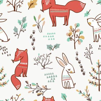 Tapeta Zimowy las tło z lisy i króliki. Bezszwowy wzór.