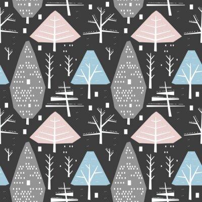 Tapeta Zimowy wzór różnych drzew i krzewów