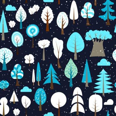 Tapeta Zimowy wzór różnych drzew i krzewów. Ilustracja wektorowa lasu. Prosty kreskówka płaski.