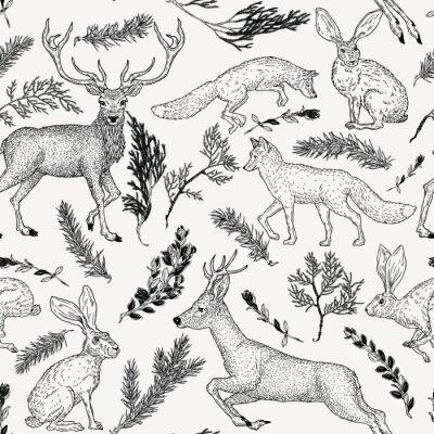 Tapeta Zimowy wzór z jelenia, lisa, zająca i zimozielonych roślin w stylu vintage. Ręcznie rysowane dekoracje na papier, tekstylia, dekoracje do pakowania, rezerwacja złomu, koszulka, karty.