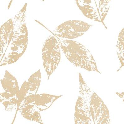 Tapeta Złocistego liścia bezszwowy wzór na białym tle. Nadruk liścia złotą farbą akrylową. Dekoracja świąteczna w stylu grunge.