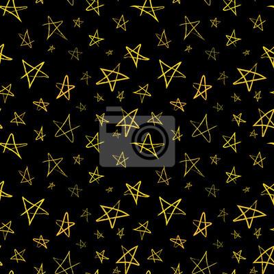 Złote rysowane ręcznie gwiazd na nocnym niebie, bez szwu wzór
