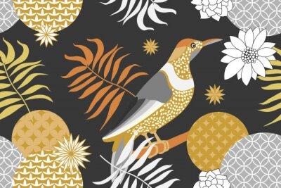 Tapeta Złoty i srebrny kwiatowy wzór z ptakami w ogrodzie. Styl minimalizmu.