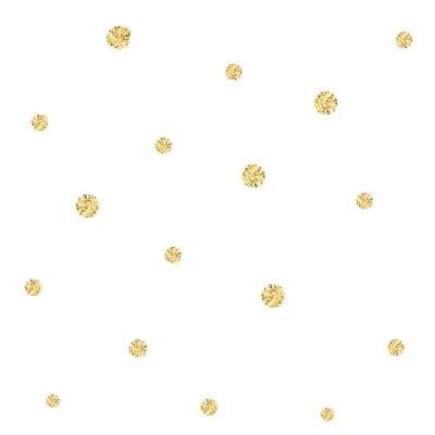 Tapeta Złoty wzór konfetti. Nowoczesne abstrakcyjne wektora bez szwu tła z małych kropek tekstury złota. Idealny do świątecznych zaproszeń, kart okolicznościowych i papieru do pakowania.