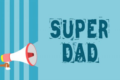Znak tekstowy pokazujący Super tatę. Koncepcyjne zdjęcie Dzieci idola i superbohatera inspiracją do spojrzenia na megafon głośnik niebieskie paski ważna wiadomość mówiąc głośno