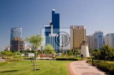 Tapeta Zobacz Abu Dhabi Skyline z ogrodów i małej latarni