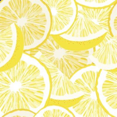 Tapeta Żółta cytryna bez szwu wektor wzór