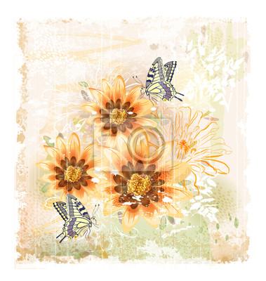 żółte kwiaty i motyle terenowych