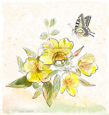 żółte polne kwiaty i motyle