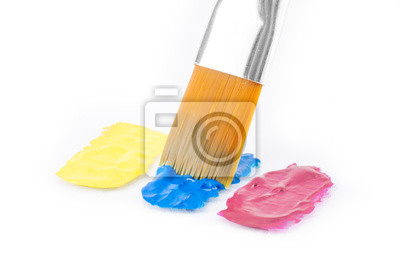 Tapeta Żółty, cyjan i magenta z pędzlem kolory