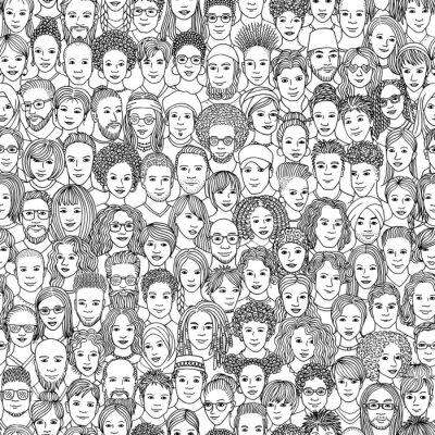 Tapeta Zróżnicowany tłum ludzi - wzór 100 ręcznie rysowane twarze różnych grup etnicznych