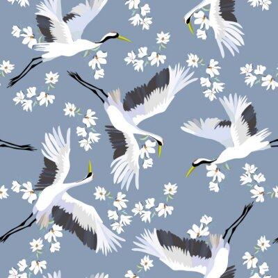 Tapeta żuraw, wzór, wektor, ilustracja